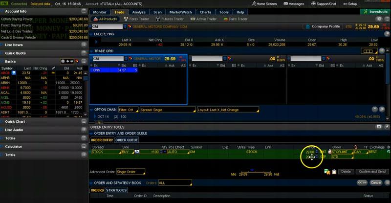 thinkorswim-buy-gm-shares